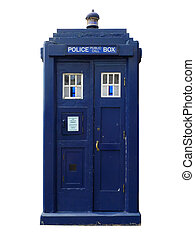 Traditional British police box; straight-on view of old-...