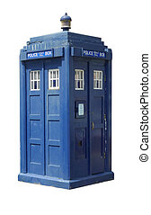 Traditional British police box; threequarter view of old-fashioned police box, isolated against white ground
