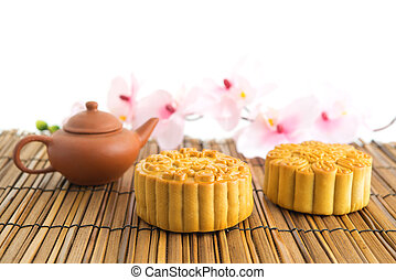 Traditional brown mooncakes