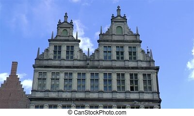 Traditional architectural details, building facades in Ghent, Gent, Belgium.