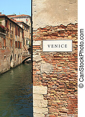 Traditional building wall in Venice, Italy