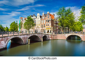 Traditional buildings in Amsterdam, Netherlands