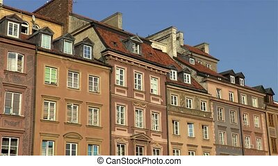 Traditional buildings in the Old Town Market Square of Warsaw, Poland.