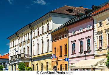 Traditional buildings in the old town of Levoca, Slovakia
