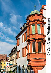 Traditional buildings in the old town of Wurzburg, Germany