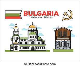 Traditional Bulgarian architecture - Vector illustration of...