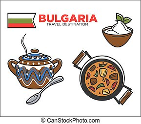 Traditional Bulgarian food - Vector illustration of...