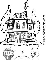 Traditional Bulgarian House Line Art - Illustration of...