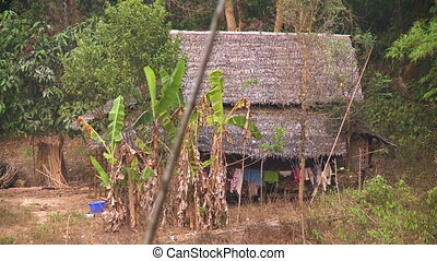 Traditional Burmese house in the forest, Myanmar - Medium...