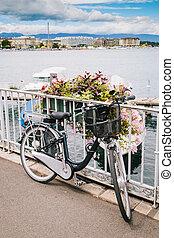 Traditional Bycicle in Geneva Lake, Switzerland