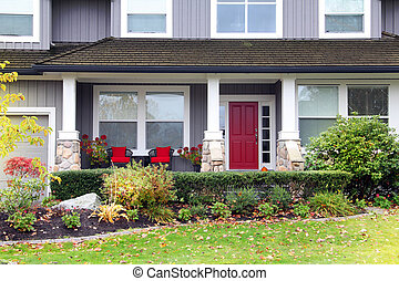 Canadian house - Traditional Canadian house with a red front...
