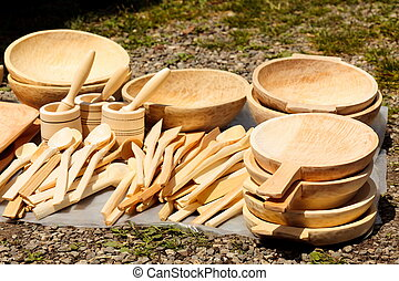 Traditional carved wood dishware