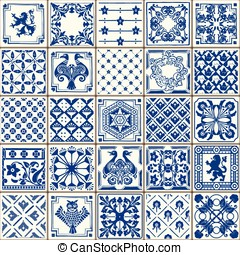 Traditional Ceramic 05 Vintage 2D - Indigo Blue Tiles Floor...