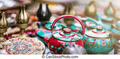 Traditional ceramic teapots on nepalese street market
