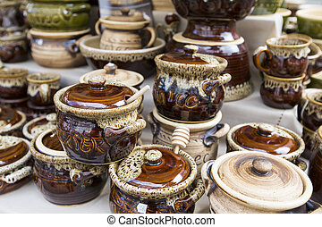 Traditional ceramics from polish market.