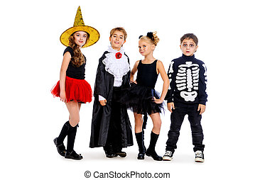 traditional childhood halloween - Group of cute children...