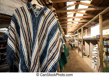Traditional Chilean coat for sale in the market