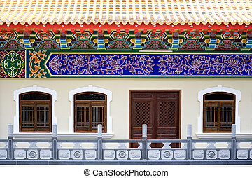 china chinese roof decoration architecture house home stock photo