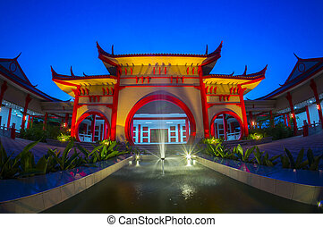 traditional chinese building at twilight time