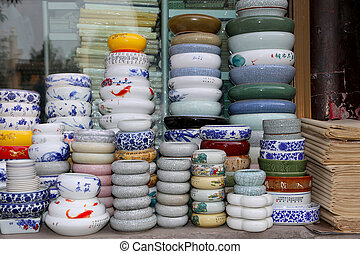 Traditional Chinese ceramic tableware at a Chinese market
