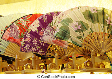 Traditional Chinese Fans for sale in Souvenir Shop. Shanghai...