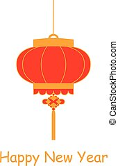 Traditional Chinese lantern in a flat style isolated on white background