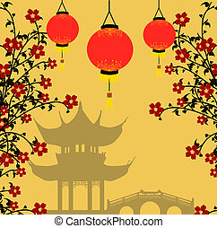 Traditional chinese lanterns for Chinese New Year and asian pagoda. Asian style background, vector illustration