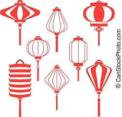 Traditional Chinese lanterns line set in a flat style isolated on white background