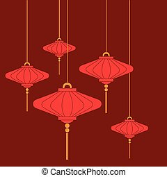 Traditional Chinese lanterns set in a flat style isolated on red background