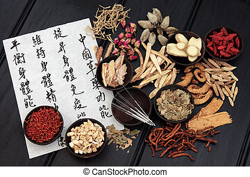 Traditional Chinese Medicine - Acupuncture needles with...