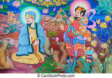 Chinese mural on temple wall