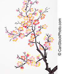 Traditional Chinese painting of flowers, plum blossom close up white background
