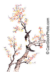 Traditional Chinese painting of plum blossom - Traditional...