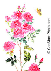 traditional Chinese painting ,peony and butterfly