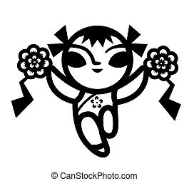 Traditional Chinese paper-cut. A little girl with Chinese costume holding two flower ball and dancing. - vector