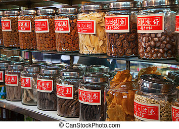 Traditional Chinese shop selling ingredients for food and ...
