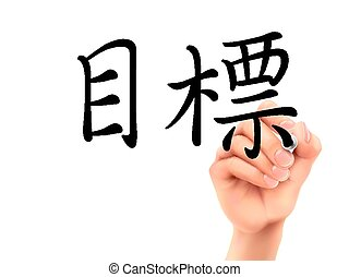 traditional Chinese words for Goal written by 3d hand on a transparent board