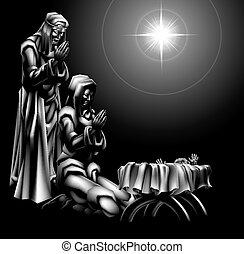 Nativity Scene - Traditional Christian Christmas Nativity...