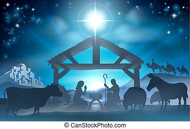 Christmas Nativity Scene - Traditional Christian Christmas ...