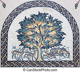 Traditional Christian mosaic portrait of the Holly Tree