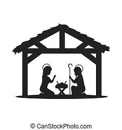 traditional christian scene in the manger