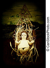 Baby Jesus in his crib - Traditional Christmas card, Baby ...