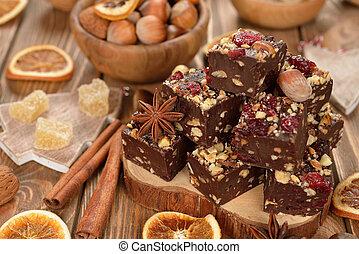 Traditional Christmas chocolate fudge