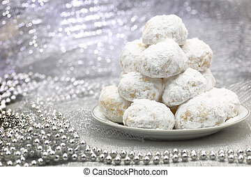 Traditional Christmas cookies with powdered sugar