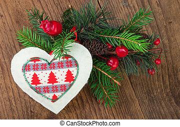 Traditional Christmas Decoration on Wood
