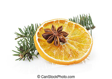 traditional christmas decorations dried orange anise star, ...