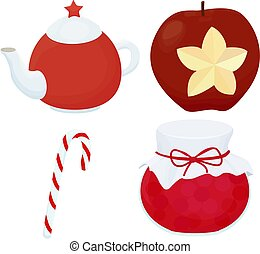 Traditional christmas dessert set with teaport, candy and apple.