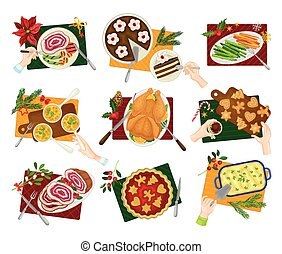 Traditional Christmas Eve Family Dinner Table Above View Vector Set