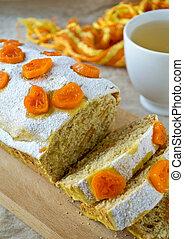 Traditional Christmas fruit cake with kumquats