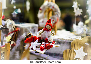 Traditional Christmas market with handmade souvenirs, Andlau...